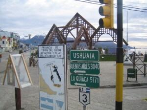 Entfernungsanzeiger in Ushuaia.