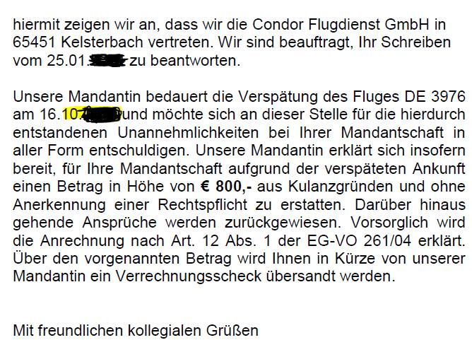 Antwortschreiben der Condor zur EU-Fluggastrechteverordnung