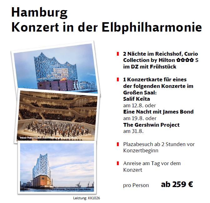 Hamburg mit Konzertbesuch in der Elbphilharmonie