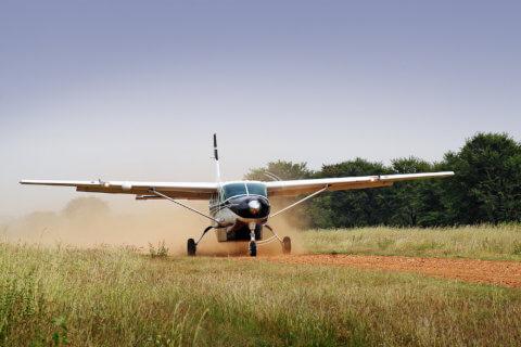 Skysafari-Flugzeug-Landung