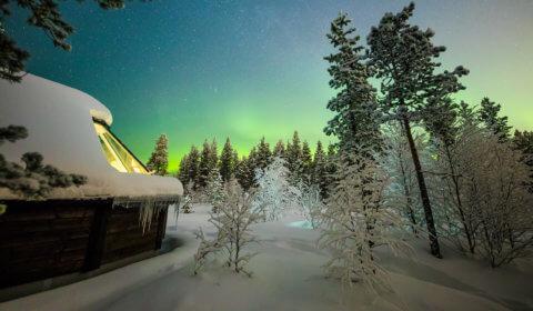 Hütte im Aurora Village Finnisch Lappland