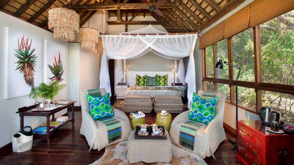 Schlafzimmer der River Lodge - Royal Chundu, Sambia
