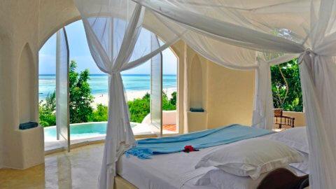 Schlafzimmer mit Meerblick - Elewana Kilindi Sansibar, Tansania