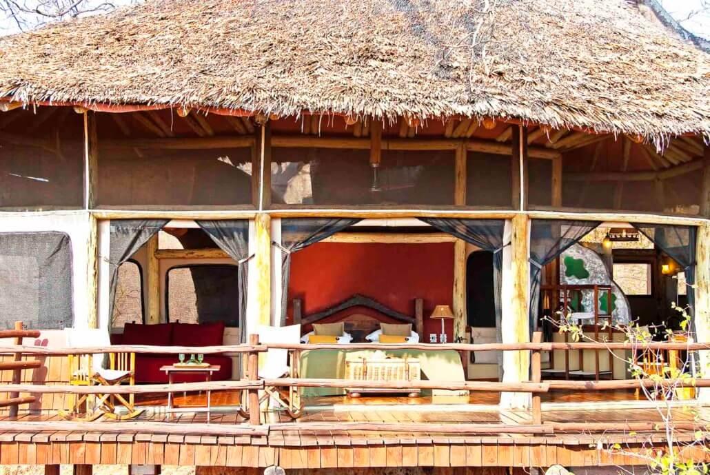 Tarangire Treetops, Tansania - Baumhaus Blick auf die Terrasse