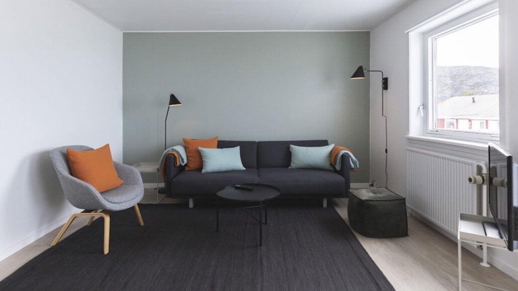 Wohnzimmer mit Couch - Hotel Icefiord, Groenland