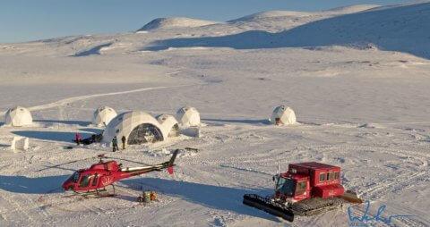 Basecamp mit Helikopter - Basecamp Baffin Island, Kanada