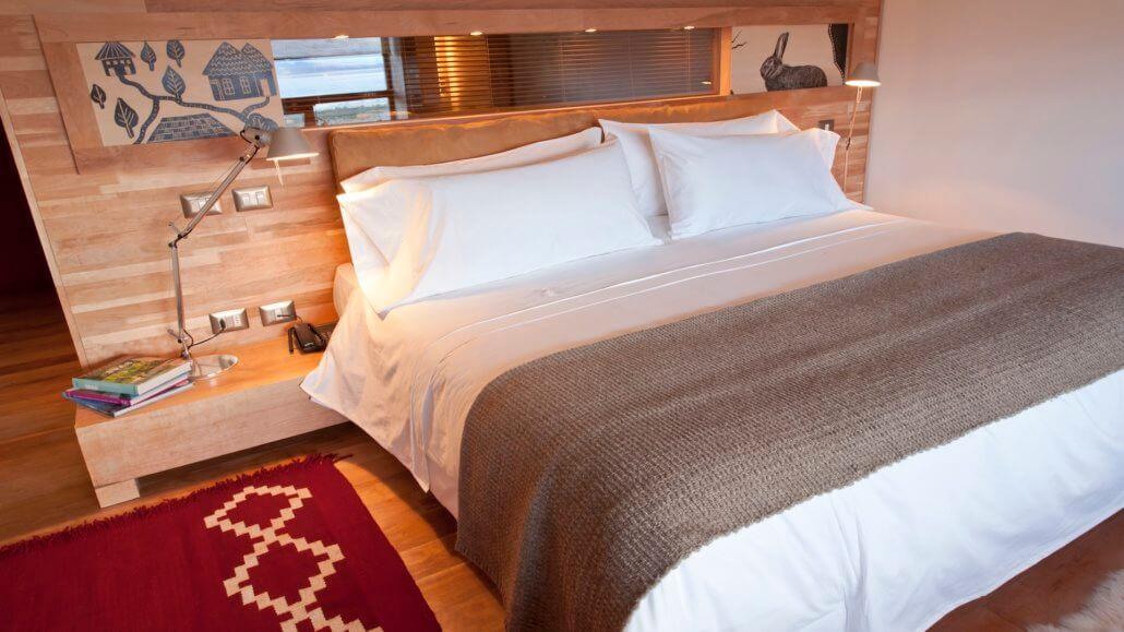 Hotel Tierra Patagonia Zimmer und Bett