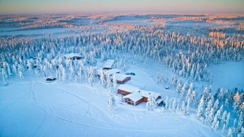 Blick auf verschneite Häuser zwischen Bäumen